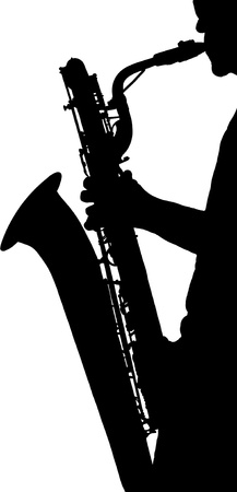 silhouette of a saxophone player  black on white background photo