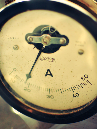 ammeter: Old vintage analogic ammeter