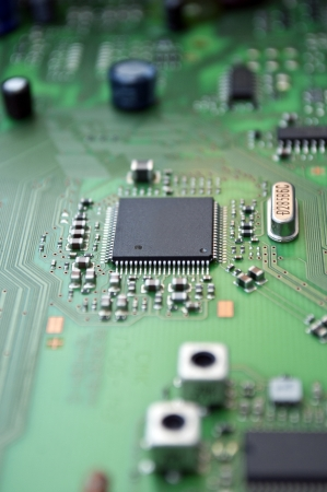 chipset: Detail of integrated circuit board with chip