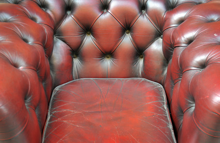 chesterfield: Leather chesterfield burgundy pattern detail Stock Photo