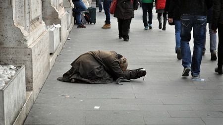 begging: Woman begging on the street