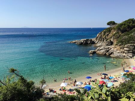 elba: View of the beach of Cavoli, Isle of Elba, Italy.
