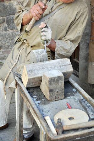 stonemason: Stonemason. Hands detail of craftsman at work