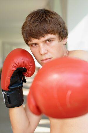 Close-up portrait of a boxer photo