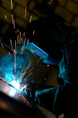 Photo of a welding process wtih sparks flying around (with copy space) photo