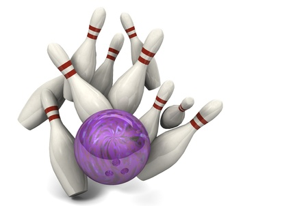 Image of a bowling ball hitting ten pins for a strike.