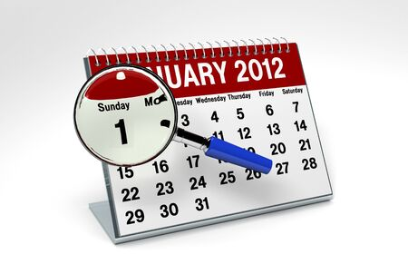 A 3D Rending of a flip calendar of January 2012 emphisising January 1 New Years Day photo