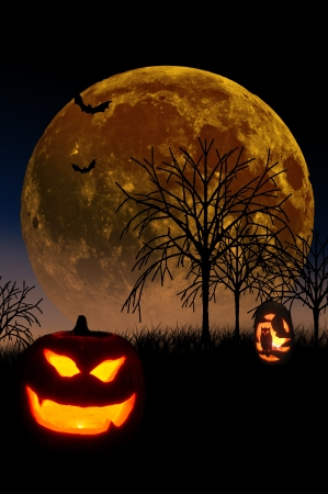 rising dead: Full Moon Rising in Background with Lighted Pumpkins in foreground and Dead Trees