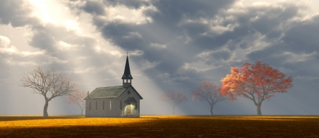 countryside: Little church with God rays shining upon it
