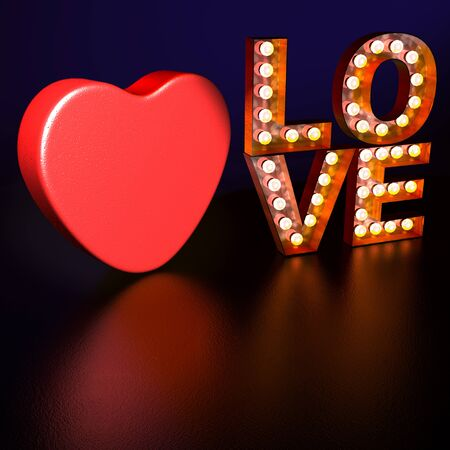 neon sign: Love Heart Lights Stock Photo