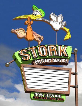 Stork Delivery Neon sign Stok Fotoğraf