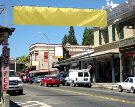 awnings: Main Street of a small town with blank banner