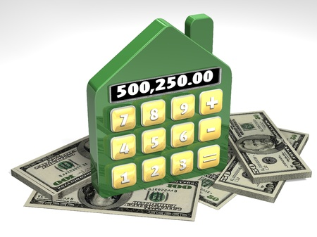 An artistic rendering of a home as a calculator with money photo