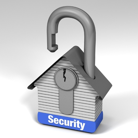 guard house: 3D illustration demonstrating home security. Stock Photo