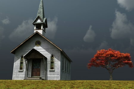 Scene of an old church on a wind swept prarie.