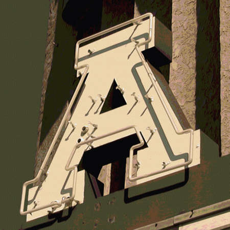 business sign: Painting of the letter A in neon with canvas texture.