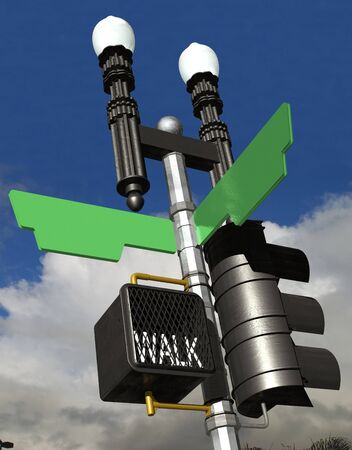 cross walk: 3D rendering of a street corner sign with a cross walk. Signs are blank for customization
