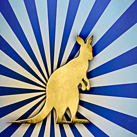 Sunbrust textured background with shilouetted Kangaroo in foreground