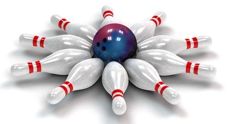 Ten bowling pins around a bowling ball in a circle photo