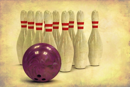 3d ball: Grunge looking bowling ball and ten bowling pins in alignment Stock Photo