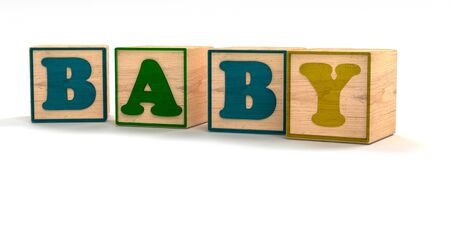 Baby Spelled out In Child Color Blocks Angled with White Background and soft shadows