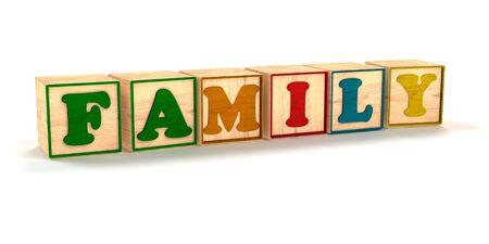 家族がの子カラー ブロック斜め白背景と影でスペルアウト 写真素材