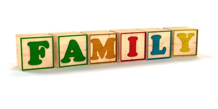 Family Spelled out In Child Color Blocks Angled with White Background and soft shadows