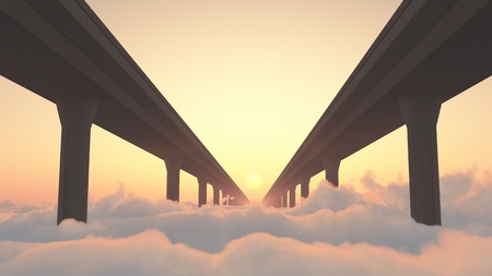 Two highways above clouds heading into a sunset Stock Photo - 18657543