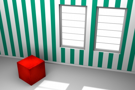 A solo red cube in a room with stripped wallpaper  Two windows with streaming sunlight photo