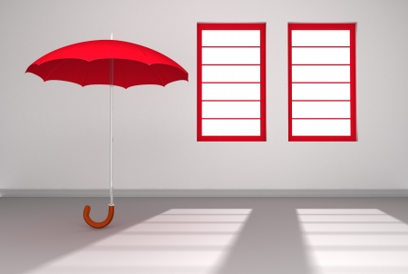 A lone red umbrella open in a white room with sun streaming through two windows photo