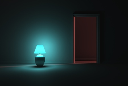 lampshade: A dark room lit with a solo turquoise lamp next to an open door Stock Photo