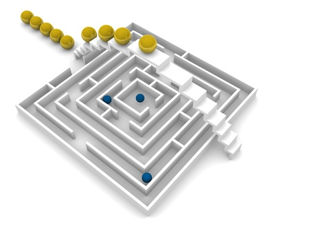 common goals: Concept of not going through a maze but going around it
