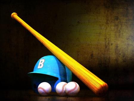 ballgame: Baseball Helmet, Bat, Balls textured