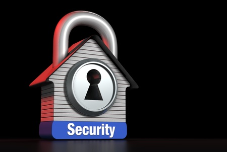 Home Security Concept House Lock for Right Text Stock Photo - 21087221