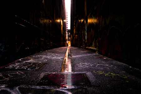 Abstract style photograph looking down a graffiti lined alley way. Inner Melbourne.