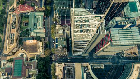 Top down aerial view of skyscrapers in a downtown city district. Metropolis 版權商用圖片