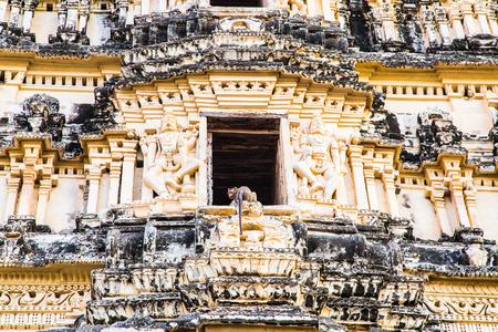 karnataka: Monkey on religious building, Hampi