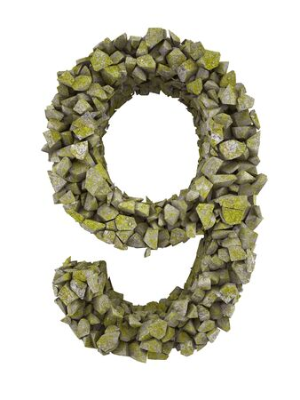 destroyed: Destroyed number of small pieces of stone covered with moss. High resolution 3d Stock Photo