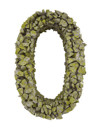 detritus: Destroyed number of small pieces of stone covered with moss. High resolution 3d Stock Photo