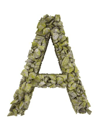 smithereens: Destroyed letter of small pieces of stone covered with moss. High resolution 3d