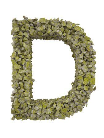 コケに覆われた石の小さな断片の手紙を破壊しました。高解像度 3 d