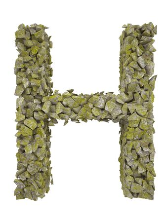 moss: Destroyed letter of small pieces of stone covered with moss. High resolution 3d