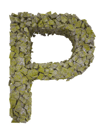 destroyed: Destroyed letter of small pieces of stone covered with moss. High resolution 3d