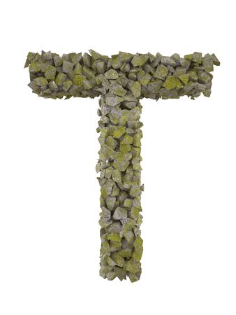 detritus: Destroyed letter of small pieces of stone covered with moss. High resolution 3d