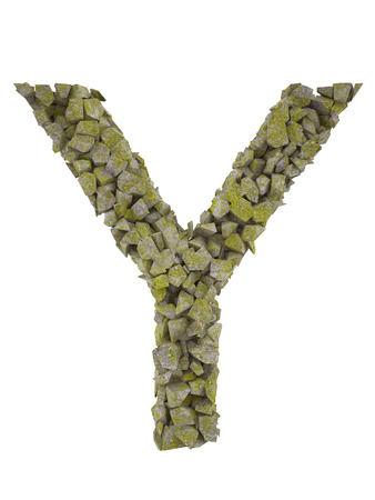 pressed: Destroyed letter of small pieces of stone covered with moss. High resolution 3d