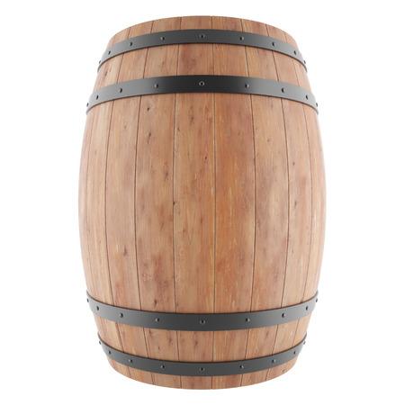 Wijn, whisky, rum, bier, vat geïsoleerd op een witte achtergrond. 3D-afbeelding van hoge resolutie