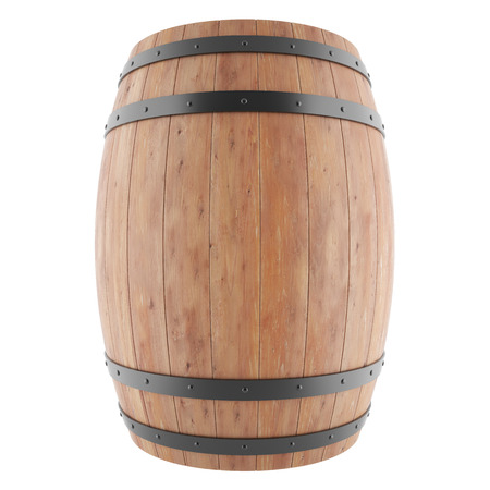 wooden barrel: Wine, whiskey, rum, beer, barrel isolated on a white background. 3d illustration high resolution