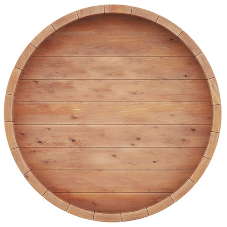 top round: Wine, beer, whiskey, rum, barrel top view of isolation on a white background. 3d high resolution image.