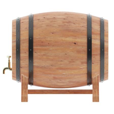 Wine, whiskey, beer, rum barrels isolated on white background. 3D illustration high resolution illustration