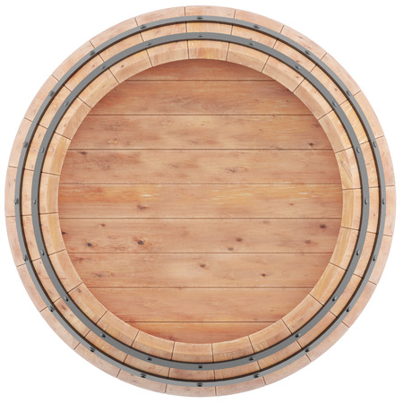 Wine, beer, whiskey, barrel top view of isolation on a white background. 3d high resolution image. Standard-Bild